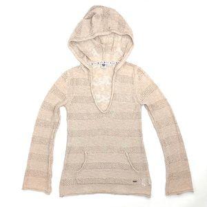 Roxy hooded sweater beige tan open weave v-neck